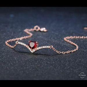❤️ Natural Red Garnet & Silver Bracelet 100000975